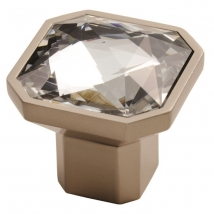 Square Crystal Knob Handle - Matt Satin Nickel Finish