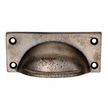 Carlisle Square Plate Cup Handle - 79mm Hole Distance - Pewter