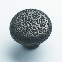 35mm Hammered Knob Handle - Antique Brass Finish