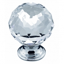 35mm Crystal Knob Handle - Chrome and Crystal Glass